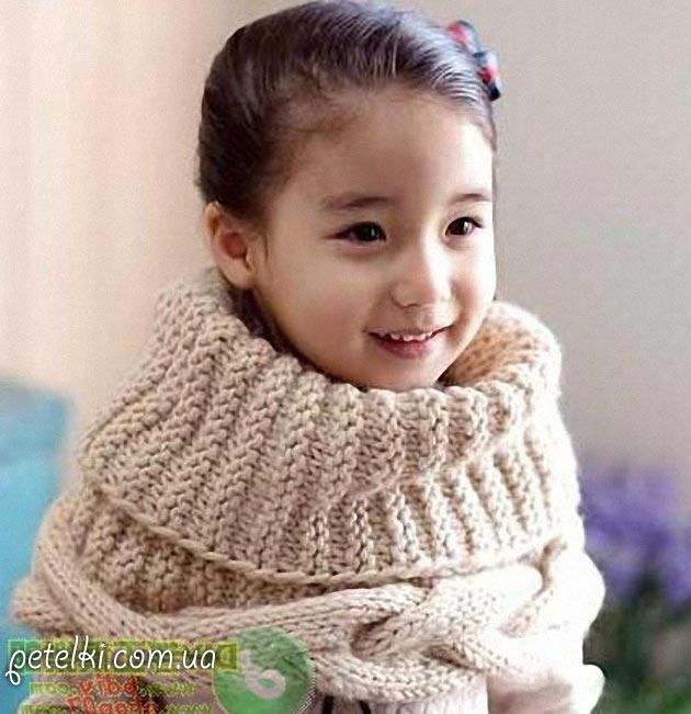 Снуд для девочки спицами. Схемы вязания
