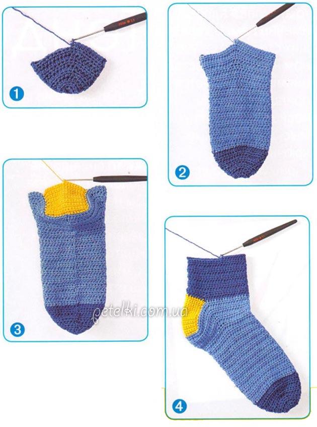 Как вязать носки крючком.