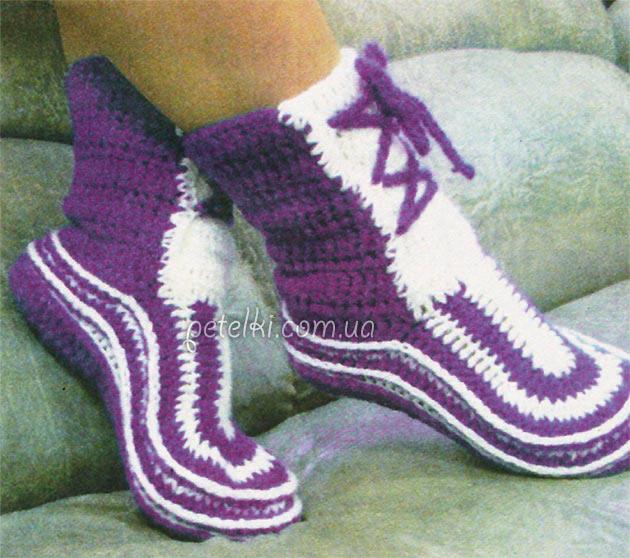 Носочки-сапожки крючком.