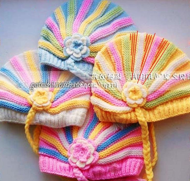 Детская шапочка Зефирка укороченными рядами. Описание вязания