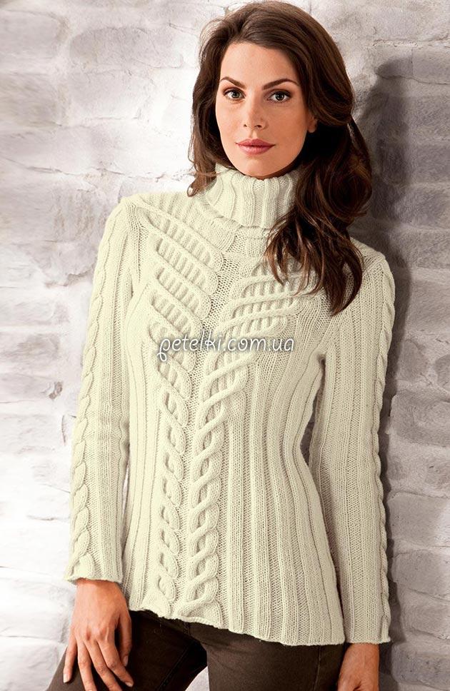 Эффектный свитер со жгутами из