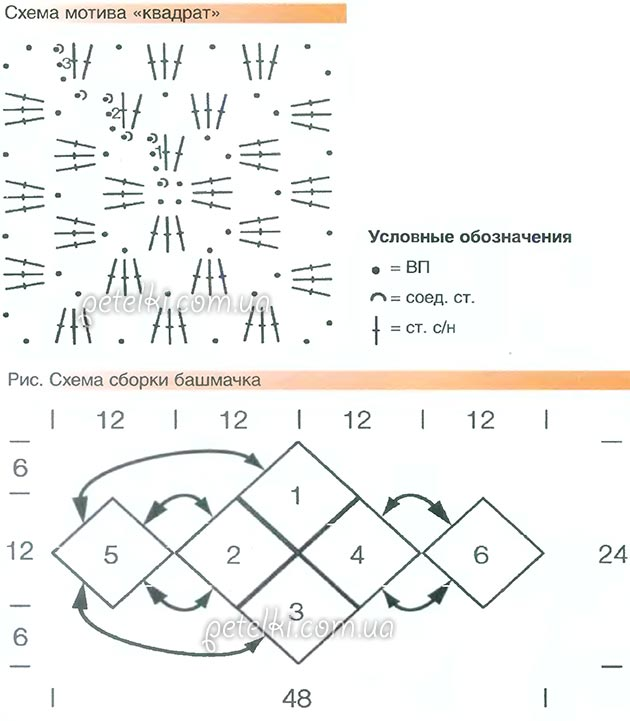Вязание крючком тапочек из квадратов схемы описание 44