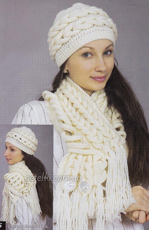 Шапочка и шарф из кос спицами. Описание, схемы вязания