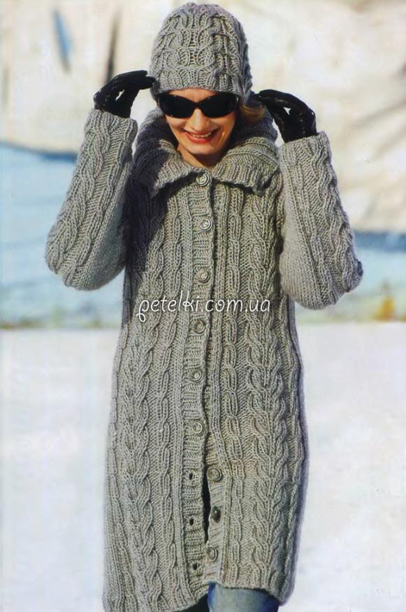 вязаное спицами пальто схемы