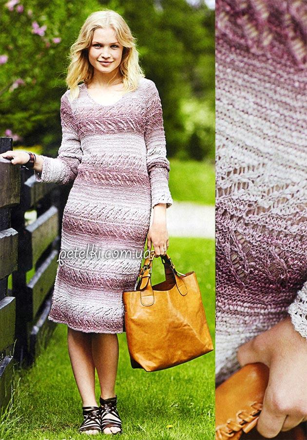 Меланжевое платье спицами. Описание, схемы вязания