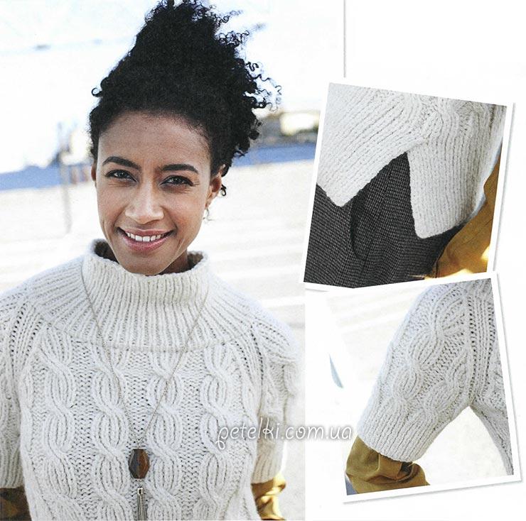 Симпатичный пуловер с косами. Описание вязания, МК кос