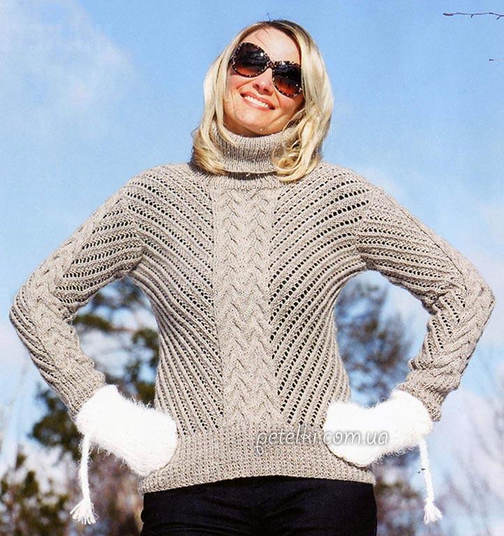 Интересный ажурный свитер с центральными косами. Описание, схемы