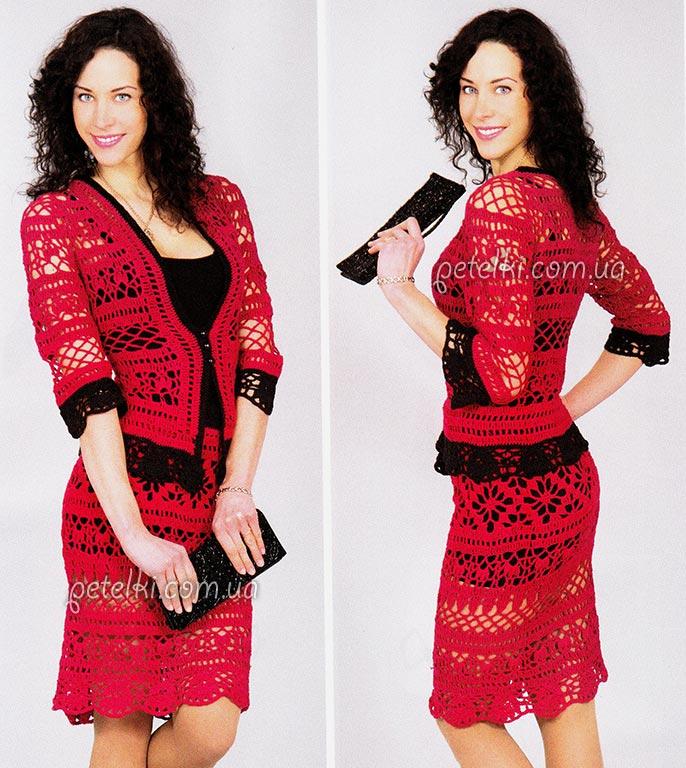Ажурный костюм крючком. Описание вязания, схемы