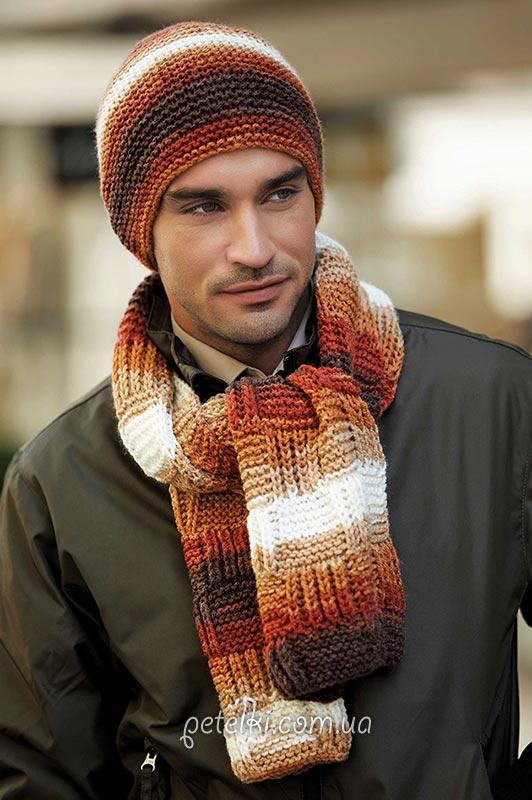 Мужские шапка и шарф спицами.