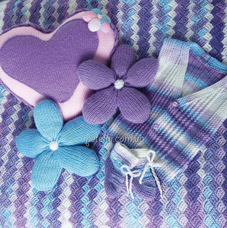 Комплект для новорожденного (пинетки, жилетка, плед). Описание, схемы