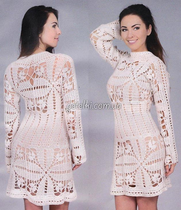 Интересное белое платье крючком. Описание, схемы
