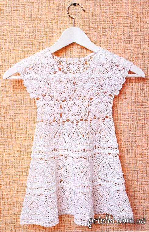 Летнее платье для девочки 1-2 лет. Описание, схемы