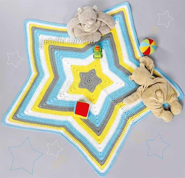 Коврик Звезда крючком. Описание вязания