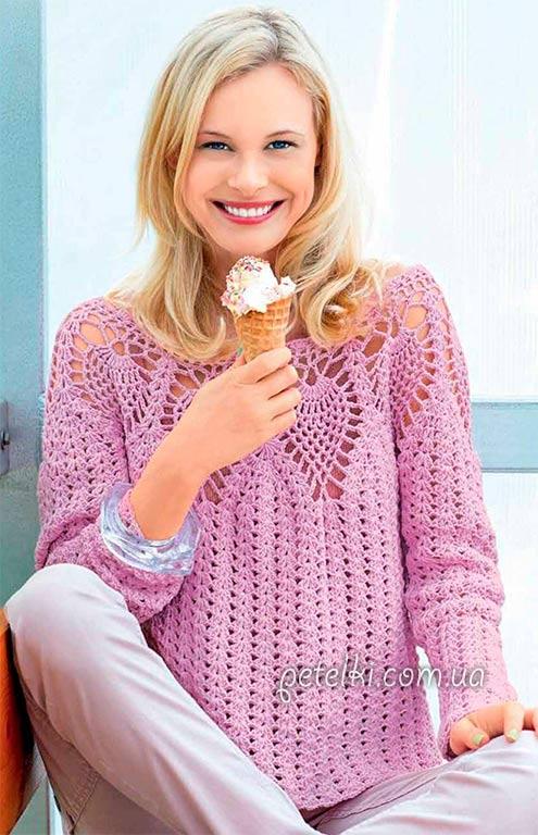 Ажурный пуловер с круглой кокеткой. Описание, схемы вязания