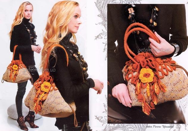 Вязаная сумка с цветочной отделкой. Схемы, описание вязания