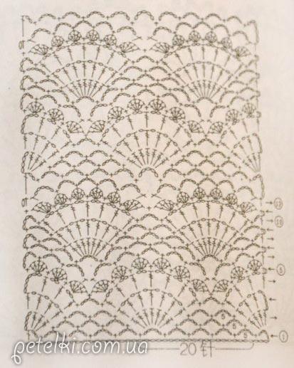узор ракушки крючком схема