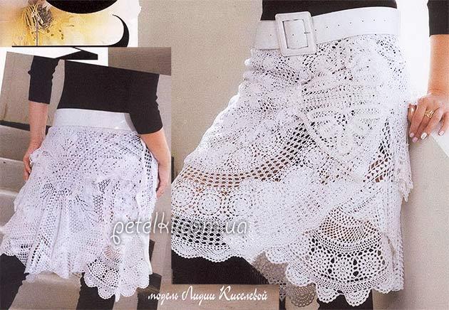 Вязание кружевная юбку крючок