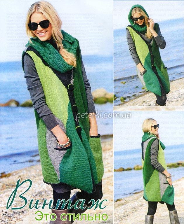 Экстравагантный цветной жилет и шарф-снуд. Описание вязания