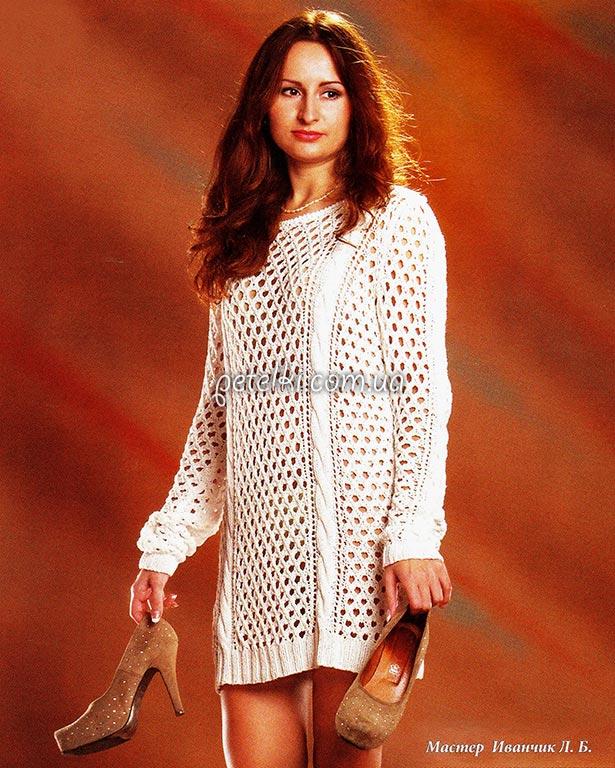 Ажурное платье-туника спицами. Описание вязания, схема