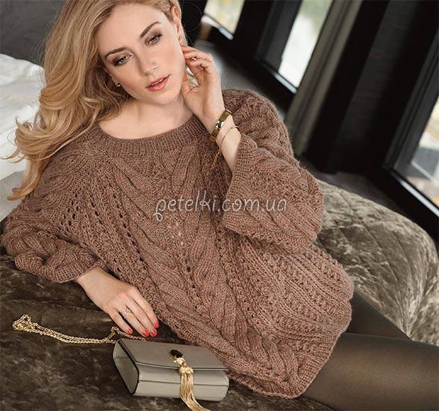 Шикарный объемный пуловер косами. Описание, схемы вязания