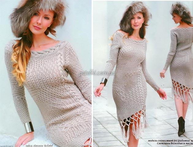 Платье из 21 узора спицами. Описание, схемы вязания