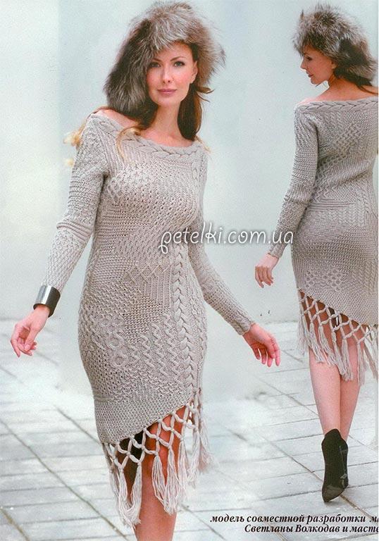 Платье из 21 узора спицами. Описание, схемы вязания.