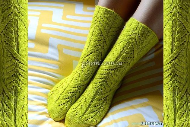 Красивые высокие носочки. Описание, схема вязания
