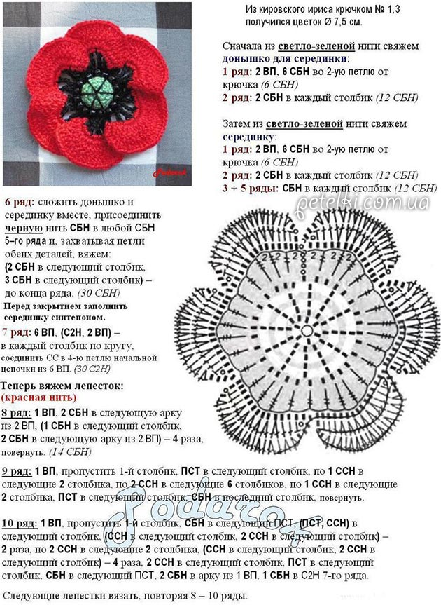 Как связать цветы крючком с подробным описанием работы