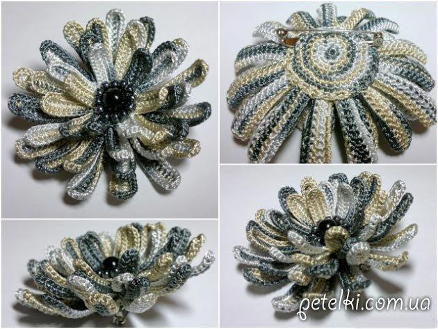 Хризантема тунисским вязанием. Описание