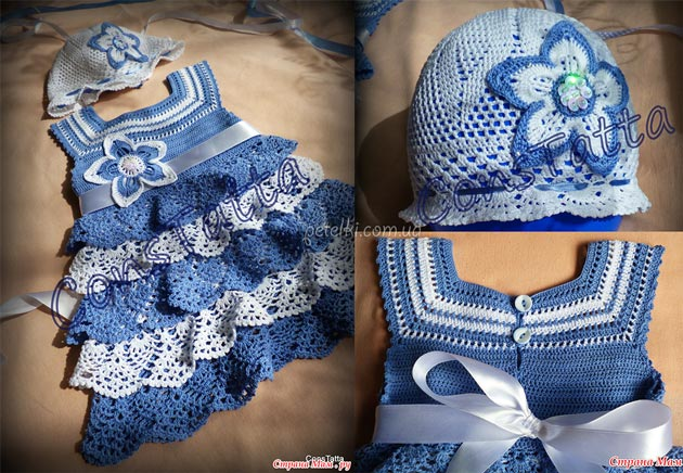 Схемы вязания платьев на годик