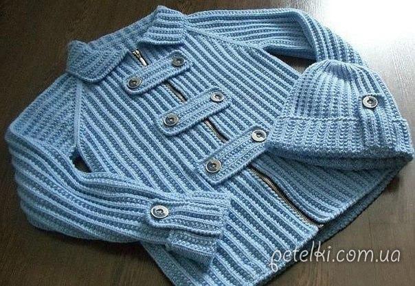 Детский комплект. Курточка и шапочка. Как вязать