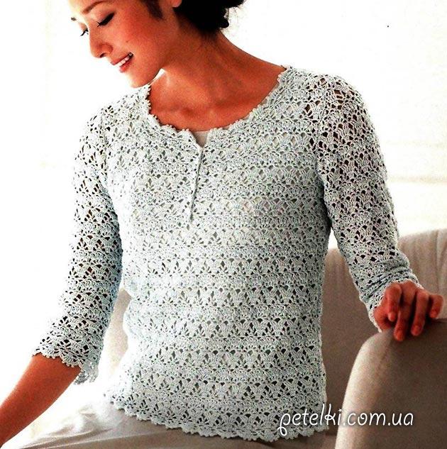 Вязание красивая ажурная кофточка