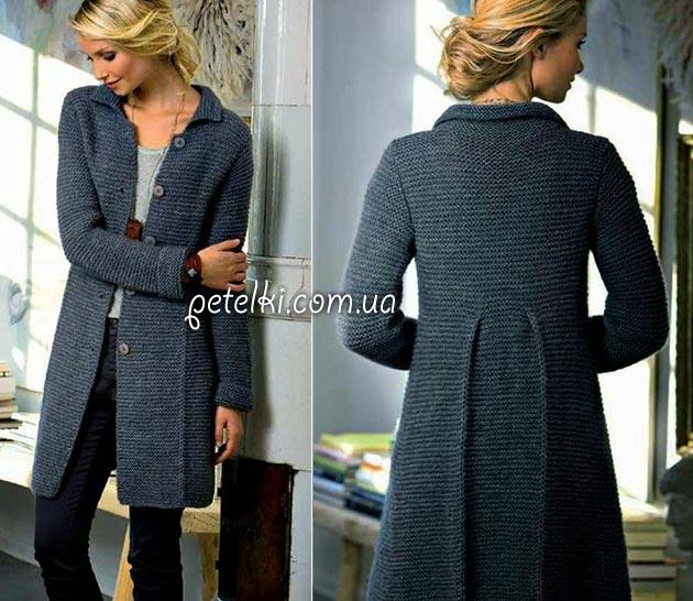 Классическое пальто спицами. Как вязать