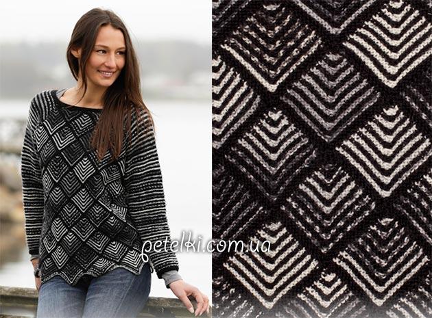 Оригинальный свитер Шахматы. Схемы, описание