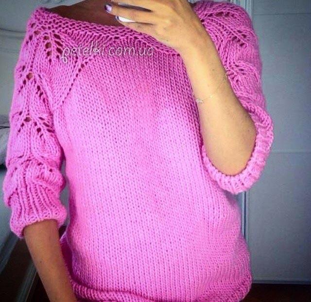 Пуловер с ажурными рукавами листочками. Видео, схема