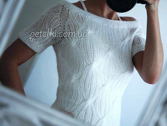 Пуловер реглан из тонкого мохера. Как вязать