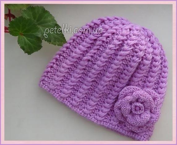Эффектная шапочка с цветком спицами. Видеоуроки