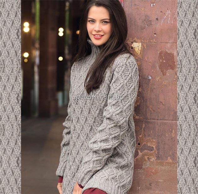 Пуловер узором из ромбов. Описание, схема
