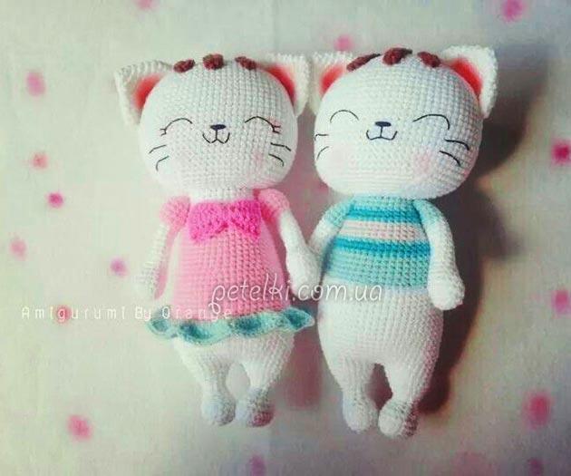 Милые котики крючком. Описание вязания