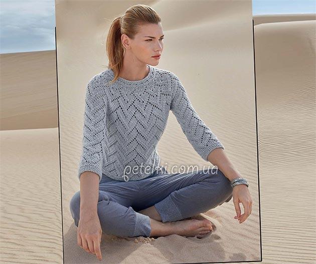 Ажурный пуловер спицами единым полотном без швов. Схемы, описание