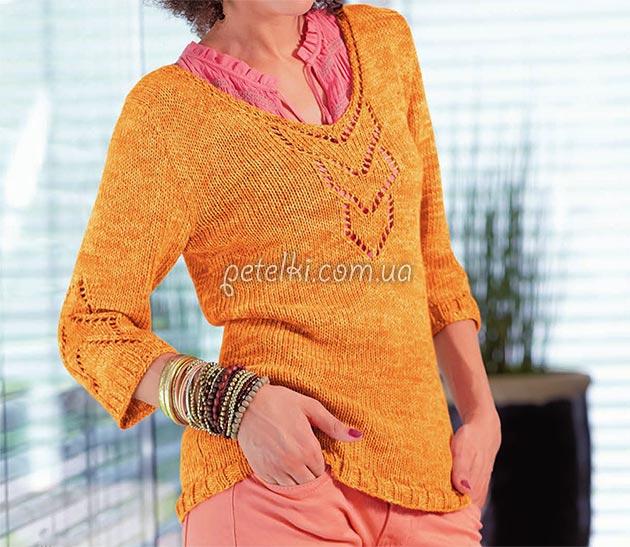 Пуловер спицами с ажурными вставками. Схемы, описание вязания