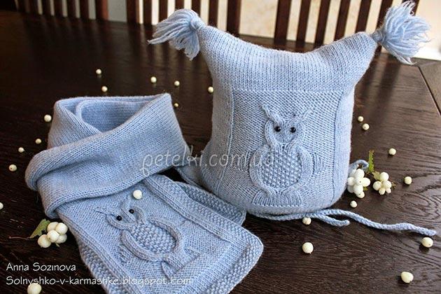 Шапочка и шарфик с совами. Описание и схемы вязания