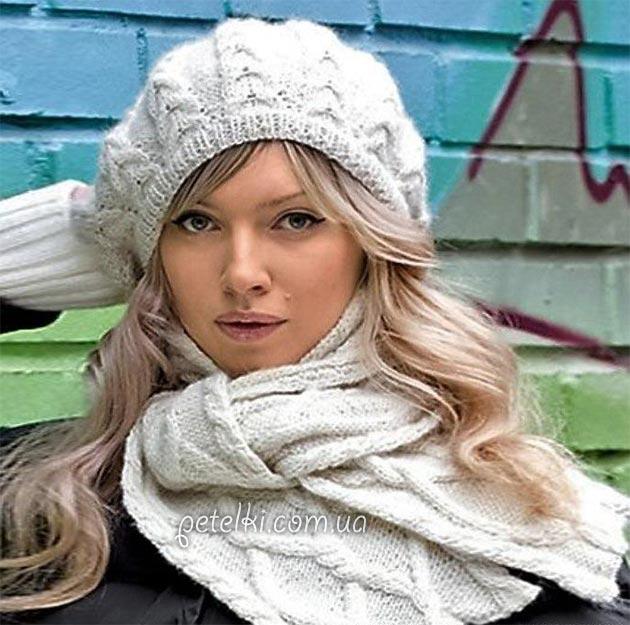 Комплект спицами. Берет и шарф с косами. Описание и схема <u>вязаный</u> <em>вязаный воротник</em> вязания