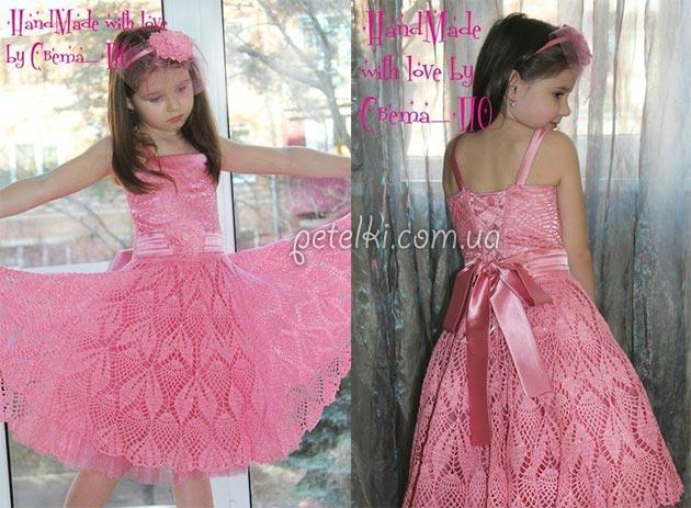 Ажурное нарядное платье для девочки. Схемы вязания