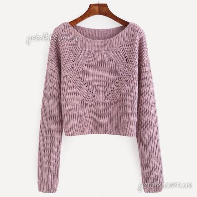 Пуловер с фасонными линиями. Полное описание вязания