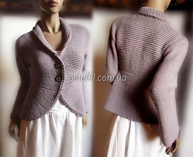 Необычный жакет платочной вязкой. Описание вязания, выкройка