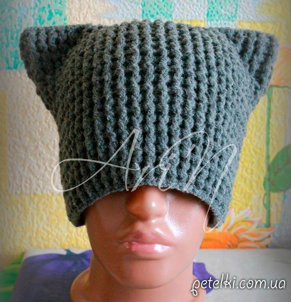 котошапка для взрослого в наличии шапка кошка вязаный эксклюзив