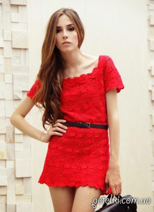 красное платье из квадратных мотивов крючком схема мотива