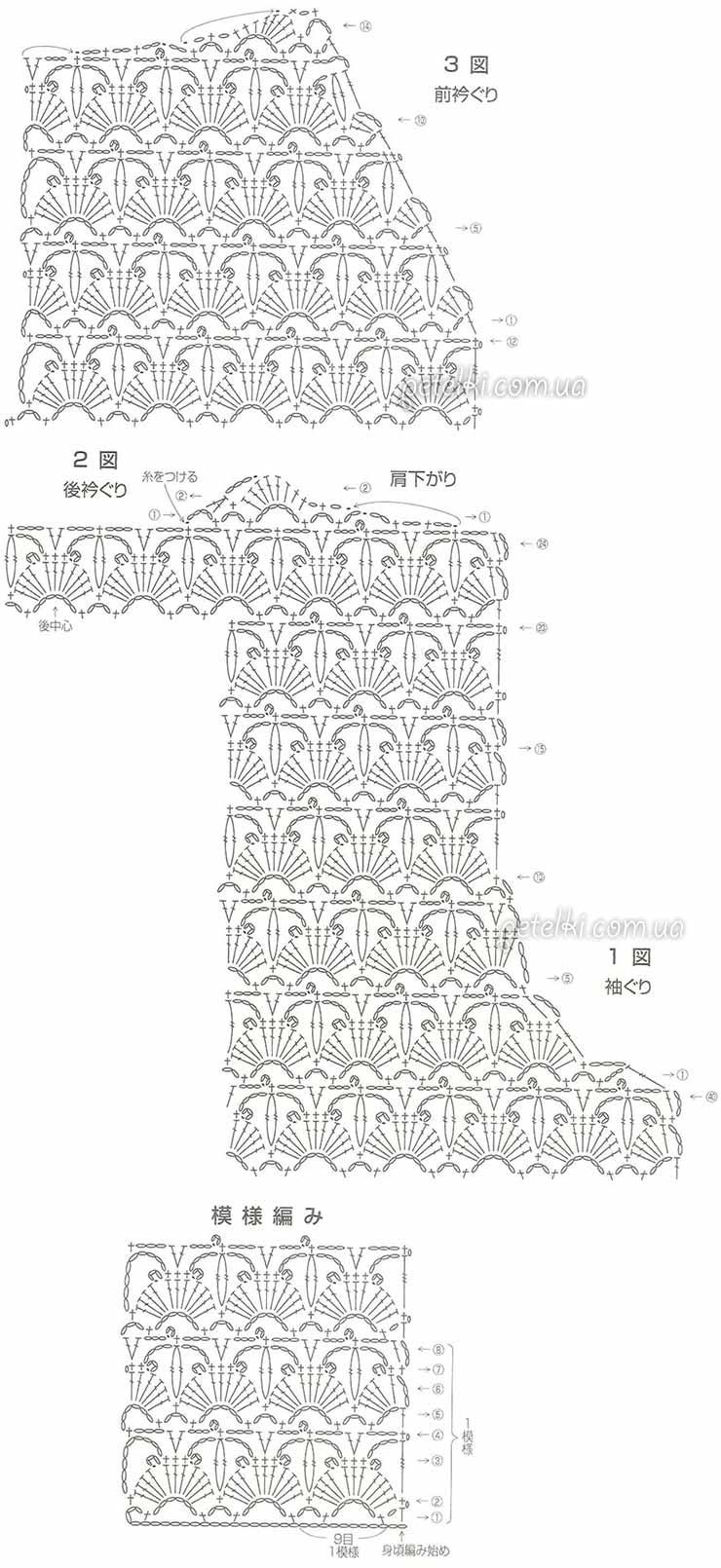 элегантный кружевной жакет крючком схемы вязания