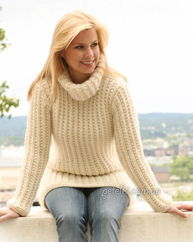 свитер спицами простым узором описание вязания схема выкройка